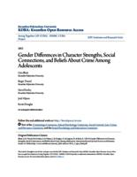 Gender Differences in Character Strengths, Social Connections, and Beliefs About Crime Among Adolescents