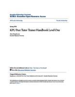 KPU Peer Tutor Trainer Handbook Level One