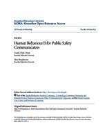 Human Behaviour II for Public Safety Communicators