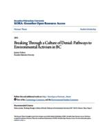 Breaking Through a Culture of Denial: Pathways to Environmental Activism in BC