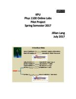 KPU Phys 1100 Online Labs, Pilot Project, Spring Semester 2017