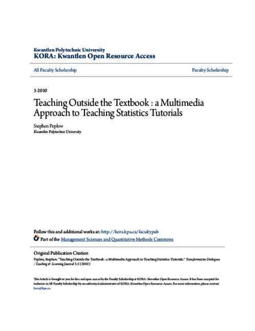 Teaching Outside the Textbook : a Multimedia Approach to Teaching