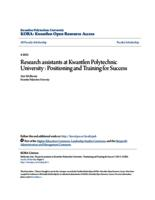 Research assistants at Kwantlen Polytechnic University : Positioning and Training for Success
