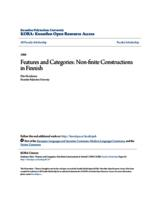 Features and Categories: Non-finite Constructions in Finnish