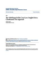 The 1846 Repeal of the Corn Laws: Insights from a Classification Tree Approach