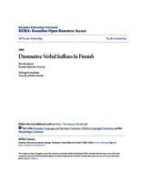 Diminutive Verbal Suffixes In Finnish
