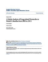 A Media Analysis of Gang-related Homicides in British Columbia from 2003 to 2013
